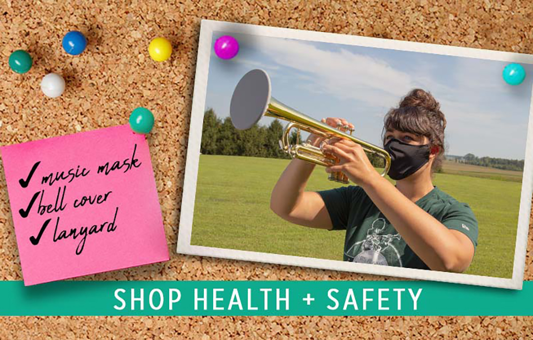 Instrument bell covers and overlapping music masks to help performers follow recommended health and safety guidelines