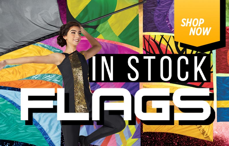 In stock and ready to ship! Band Shoppe stocks hundreds of color guard flags from digital and sewn flags to hybrid flags and swing flags -- even solid color show flags.