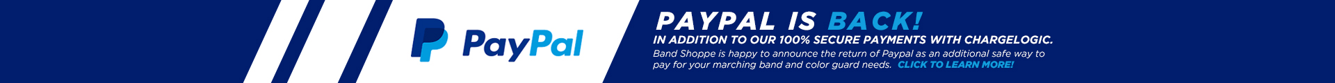 Band Shoppe is proud to welcome PayPal back has part of our 100% secure payment options!