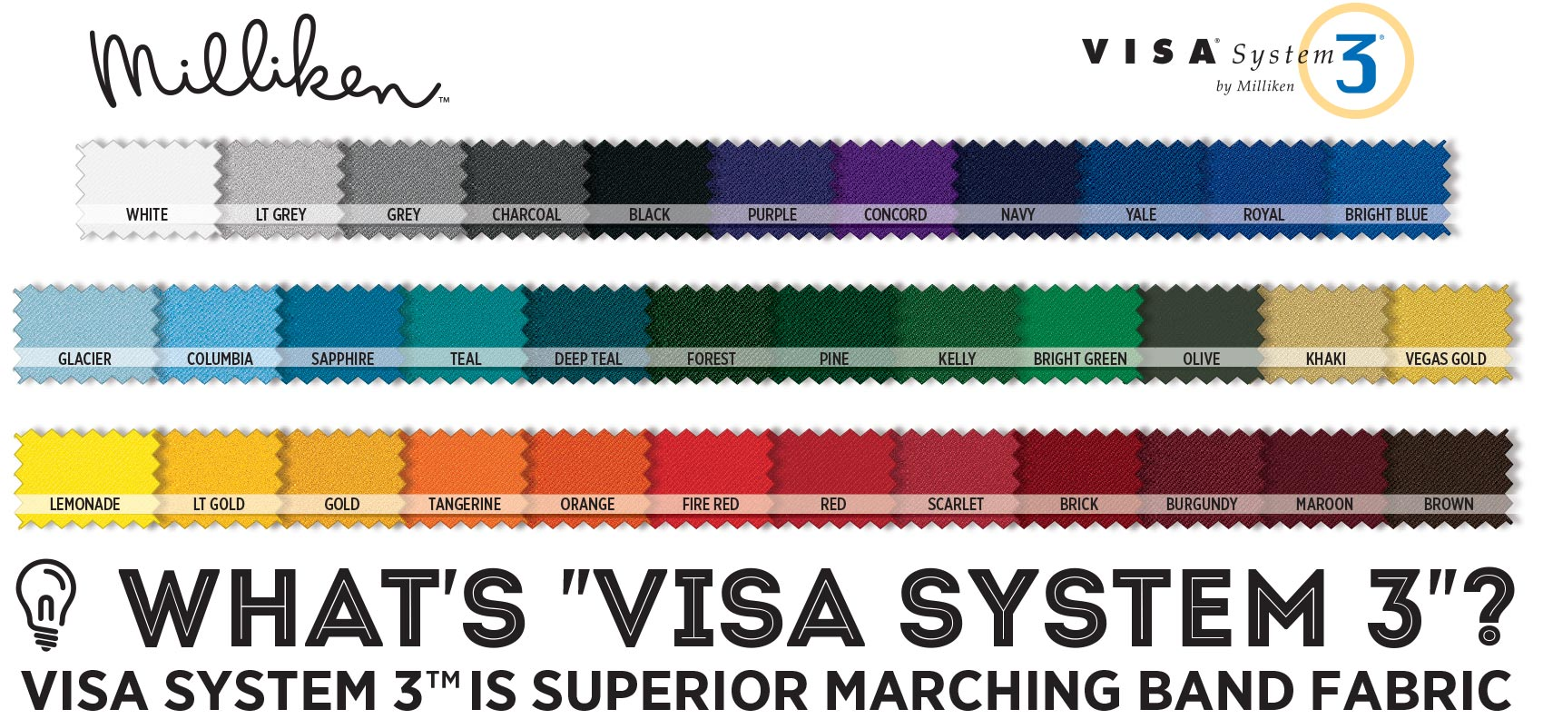 WHAT'S VISA SYSTEM 3? VISA SYSTEM 3 IS SUPERIOR MARCHING BAND FABRIC